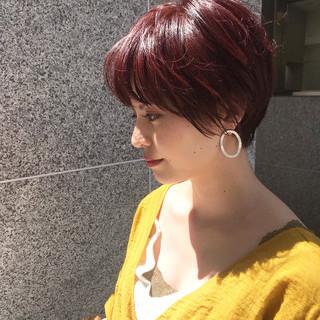 ショート ショートボブ ピンクバイオレット ナチュラル ヘアスタイルや髪型の写真・画像