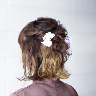 ボブ ヘアアレンジ インナーカラー ナチュラル ヘアスタイルや髪型の写真・画像
