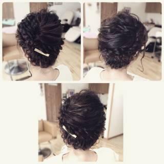 編み込み コンサバ ロング アップスタイル ヘアスタイルや髪型の写真・画像