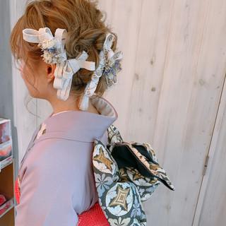卒業式 フェミニン ヘアアレンジ ミディアム ヘアスタイルや髪型の写真・画像