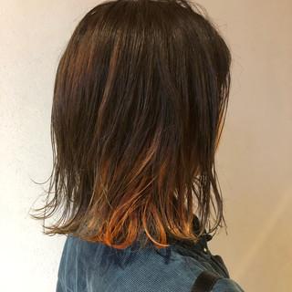 ボブ オレンジカラー インナーカラーオレンジ ストリート ヘアスタイルや髪型の写真・画像