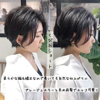 小顔 ショートボブ 縮毛矯正 エレガント ヘアスタイルや髪型の写真・画像