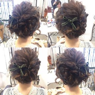 色気 フェミニン 編み込み 結婚式 ヘアスタイルや髪型の写真・画像