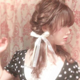 簡単ヘアアレンジ ヘアアレンジ くるりんぱ セミロング ヘアスタイルや髪型の写真・画像