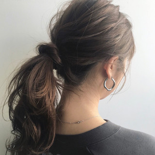 簡単ヘアアレンジ ヘアアレンジ ミディアム ポニーテール ヘアスタイルや髪型の写真・画像 ヘアスタイルや髪型の写真・画像