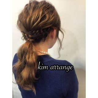 簡単ヘアアレンジ ポニーテール ショート 編み込み ヘアスタイルや髪型の写真・画像