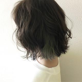 ボブ ガーリー 透明感 アッシュ ヘアスタイルや髪型の写真・画像