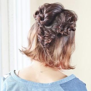 ショート 簡単ヘアアレンジ 猫耳 ボブ ヘアスタイルや髪型の写真・画像
