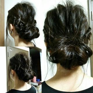 暗髪 ヘアアレンジ ゆるふわ 外国人風 ヘアスタイルや髪型の写真・画像
