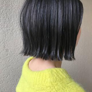 ボブ 多毛 モード ネイビー ヘアスタイルや髪型の写真・画像