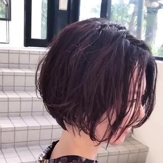 大人ショート パーマ 無造作パーマ ボブ ヘアスタイルや髪型の写真・画像