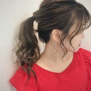 セミロング オフィス ヘアアレンジ アウトドア ヘアスタイルや髪型の写真・画像 ヘアスタイルや髪型の写真・画像
