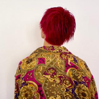 バイオレット ショートヘア メンズショート ピンクバイオレット ヘアスタイルや髪型の写真・画像
