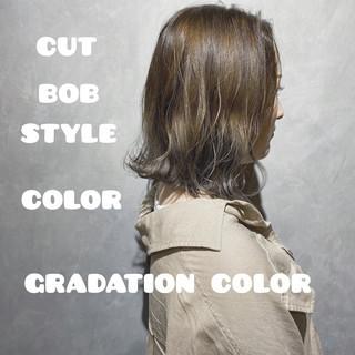 ナチュラル ボブ インナーカラー ウルフカット ヘアスタイルや髪型の写真・画像