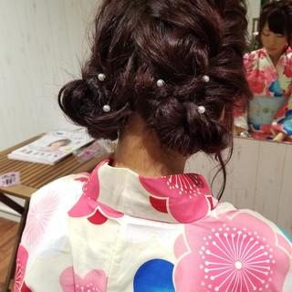 和装 フェミニン お祭り ヘアアレンジ ヘアスタイルや髪型の写真・画像
