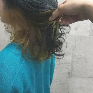 ダブルカラー カラーバター ストリート ミディアム ヘアスタイルや髪型の写真・画像