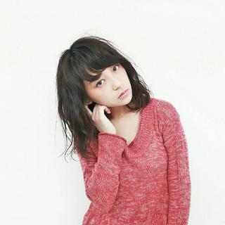 暗髪 モード ミディアム 秋 ヘアスタイルや髪型の写真・画像