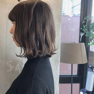 デート 外国人風カラー ロブ ボブ ヘアスタイルや髪型の写真・画像