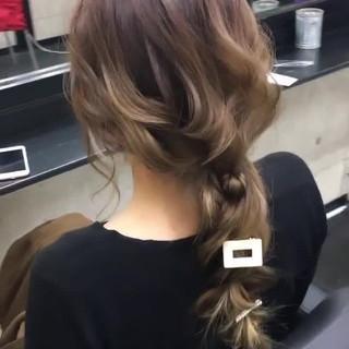 ロング エレガント ヘアセット 編みおろし ヘアスタイルや髪型の写真・画像