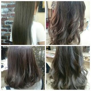 グラデーションカラー アッシュ ハイライト フェミニン ヘアスタイルや髪型の写真・画像