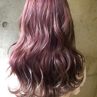 ラベンダーピンク ロング ラベンダー ラベンダーカラー ヘアスタイルや髪型の写真・画像