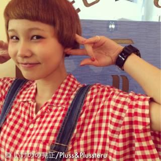 イエロー ショート ガーリー オレンジ ヘアスタイルや髪型の写真・画像