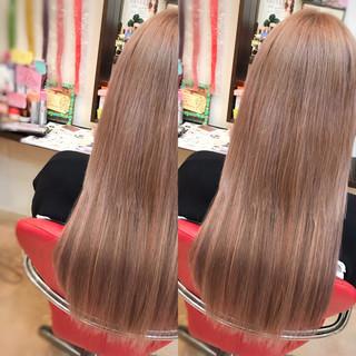 ガーリー ハイライト ピンク ミルクティー ヘアスタイルや髪型の写真・画像