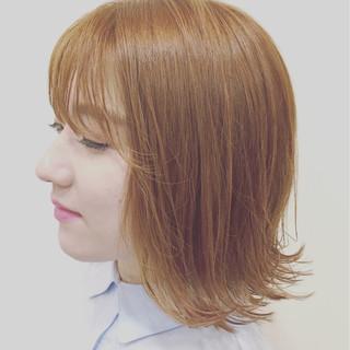 シースルーバング ナチュラル ボブ オルチャン ヘアスタイルや髪型の写真・画像