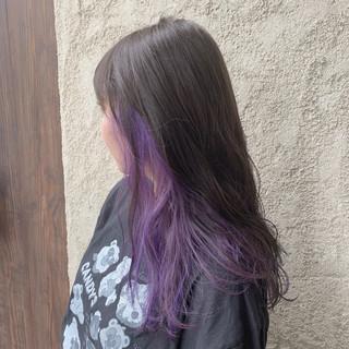 ブリーチ ハイトーンカラー パープルカラー ストリート ヘアスタイルや髪型の写真・画像
