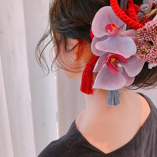 セミロング 大人女子 ヘアアレンジ 卒業式 ヘアスタイルや髪型の写真・画像