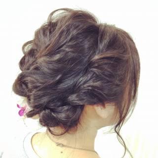 ヘアアレンジ ねじり ゆるふわ 波ウェーブ ヘアスタイルや髪型の写真・画像