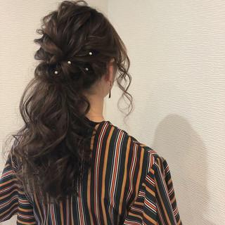 パーティ ヘアアレンジ ポニーテール フェミニン ヘアスタイルや髪型の写真・画像 ヘアスタイルや髪型の写真・画像