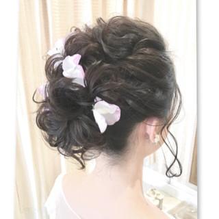 フェミニン ブライダル ヘアアレンジ ボブ ヘアスタイルや髪型の写真・画像