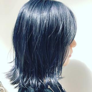 モード ブルー ブルーバイオレット ボブ ヘアスタイルや髪型の写真・画像