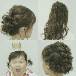 ショート 波ウェーブ ヘアアレンジ セミロング ヘアスタイルや髪型の写真・画像