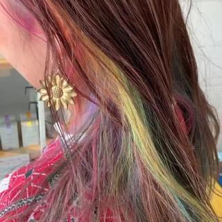デザインカラー ガーリー ブリーチカラー レインボー ヘアスタイルや髪型の写真・画像
