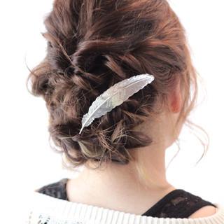 セミロング 結婚式 簡単ヘアアレンジ ショート ヘアスタイルや髪型の写真・画像