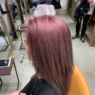 大学生 ピンクバイオレット ロング ピンク ヘアスタイルや髪型の写真・画像 ヘアスタイルや髪型の写真・画像