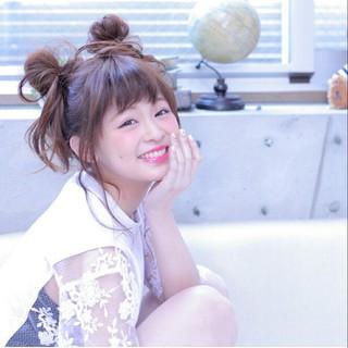 お団子 簡単ヘアアレンジ ロング ショート ヘアスタイルや髪型の写真・画像