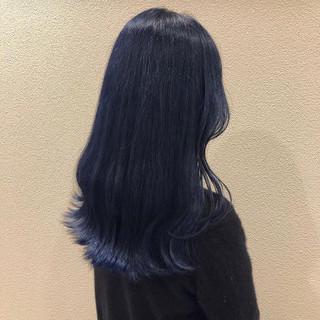 ネイビーブルー ブルー ネイビー ロング ヘアスタイルや髪型の写真・画像