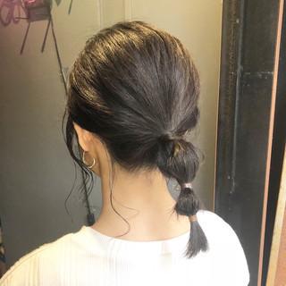 ミディアム ヘアアレンジ ガーリー ポニーテールアレンジ ヘアスタイルや髪型の写真・画像