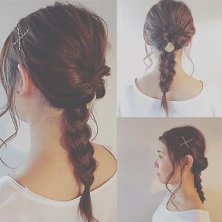 ヘアアレンジ ロング 暗髪 ガーリー ヘアスタイルや髪型の写真・画像