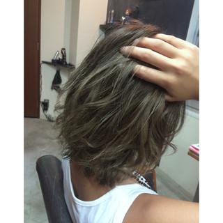 外国人風カラー メッシュ バレイヤージュ ボブ ヘアスタイルや髪型の写真・画像