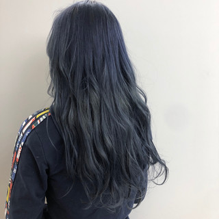 ネイビー ヘアアレンジ 外国人風カラー ヘアカラー ヘアスタイルや髪型の写真・画像