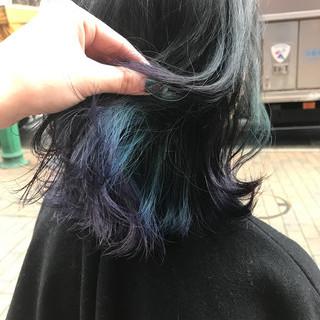 暗髪 ダークアッシュ ストリート 外ハネ ヘアスタイルや髪型の写真・画像