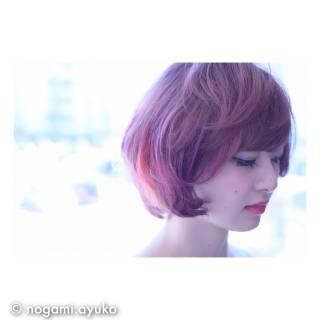 ピンク ガーリー ボブ グラデーションカラー ヘアスタイルや髪型の写真・画像