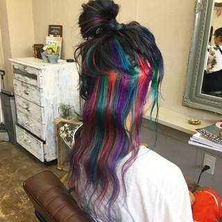 ストリート セミロング カラーバター ハイライト ヘアスタイルや髪型の写真・画像