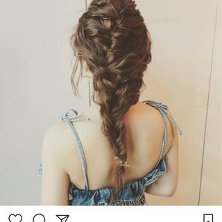 波ウェーブ 編み込み 結婚式 ロング ヘアスタイルや髪型の写真・画像 ヘアスタイルや髪型の写真・画像
