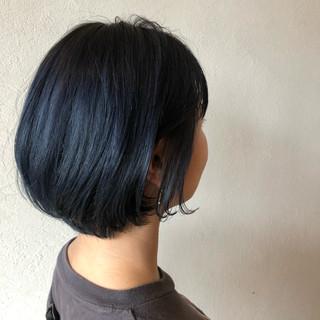ネイビー ネイビーブルー モード デニム ヘアスタイルや髪型の写真・画像