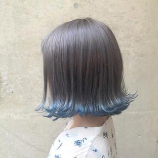 ストリート 外国人風カラー ラベンダーアッシュ ボブ ヘアスタイルや髪型の写真・画像